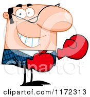 Cartoon Of A Grinning Caucasian Businessman Wearing Boxing Gloves Royalty Free Vector Clipart