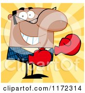 Cartoon Of A Grinning African Hispanic Or Indian Businessman Wearing Boxing Gloves Over Yellow Rays Royalty Free Vector Clipart