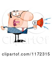 Cartoon Of An Angry Caucasian Businessman Shouting Through A Megaphone Royalty Free Vector Clipart
