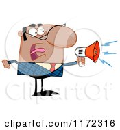 Cartoon Of An Angry Black Indian Or Hispanic Businessman Shouting Through A Megaphone Royalty Free Vector Clipart