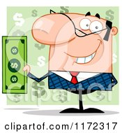 Smiling White Businessman Holding Cash And One Hand Behind His Back Over Green Question Marks