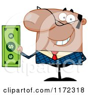 Cartoon Of A Smiling Black Indian Or Hispanic Businessman Holding Cash And One Hand Behind His Back Royalty Free Vector Clipart