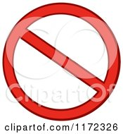 Cartoon Of A Red Restricted Or Prohibited Symbol Royalty Free Vector Clipart
