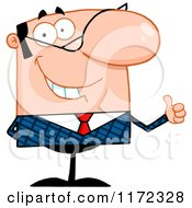 Cartoon of a Pleased Caucasian Businessman Holding a Thumb up and Smiling - Royalty Free Vector Clipart by Hit Toon