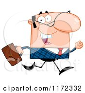 Cartoon Of A Happy Caucasian Businessman Running With His Briefcase Royalty Free Vector Clipart