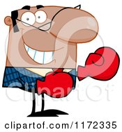 Cartoon Of A Grinning Black Hispanic Or Indian Businessman Wearing Boxing Gloves Royalty Free Vector Clipart