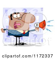 Angry Black Indian Or Hispanic Businessman Shouting Through A Megaphone Over Purple Question Marks