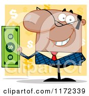 Cartoon Of A Smiling Black Indian Or Hispanic Businessman Holding Cash And One Hand Behind His Back Over Yellow Question Marks Royalty Free Vector Clipart