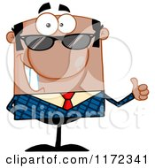 Cartoon Of A Happy Black Hispanic Or Indian Businessman Wearing Sunglasses And Holding A Thumb Up Royalty Free Vector Clipart