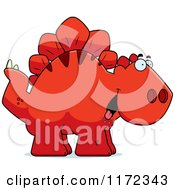 Cartoon Of A Hungry Red Stegosaurus Dinosaur Royalty Free Vector Clipart