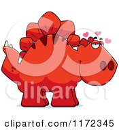 Cartoon Of A Loving Red Stegosaurus Dinosaur Royalty Free Vector Clipart