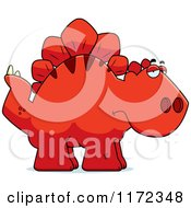 Cartoon Of A Depressed Red Stegosaurus Dinosaur Royalty Free Vector Clipart