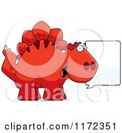 Cartoon Of A Talking Red Stegosaurus Dinosaur Royalty Free Vector Clipart by Cory Thoman
