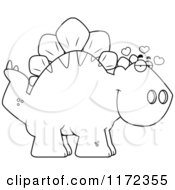Cartoon Clipart Of A Loving Stegosaurus Dinosaur Vector Outlined Coloring Page by Cory Thoman