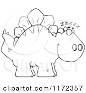Cartoon Clipart Of A Sleeping Stegosaurus Dinosaur Vector Outlined Coloring Page by Cory Thoman