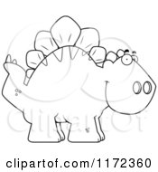 Cartoon Clipart Of A Happy Stegosaurus Dinosaur Vector Outlined Coloring Page by Cory Thoman