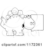 Cartoon Clipart Of A Talking Stegosaurus Dinosaur Vector Outlined Coloring Page by Cory Thoman