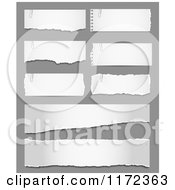Clipart Of Torn Pieces Of Paper On Gray Royalty Free Vector Illustration