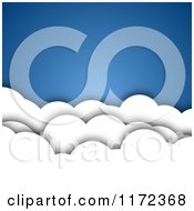 Clipart Of A Background Of 3d Puffy Clouds Over Blue Royalty Free Vector Illustration