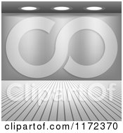 Clipart Of A Blank Grayscale Gallery Wall With Ceiling Lighting Royalty Free Vector Illustration
