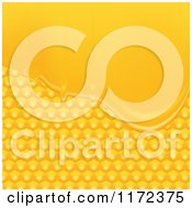 Clipart Of A Background Of Golden Honeycombs And Honey Royalty Free Vector Illustration