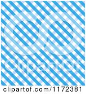 Clipart Of A Blue And White Diagonal Gingham Fabric Background Royalty Free Vector Illustration