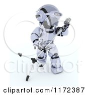 Clipart Of A 3d Robot Singing And Tilting A Microphone Stand Royalty Free CGI Illustration