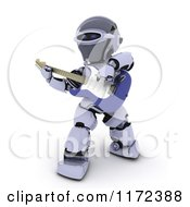 Clipart Of A 3d Robot Playing An Electric Guitar Royalty Free CGI Illustration by KJ Pargeter