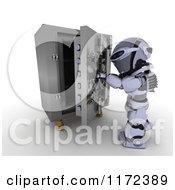 Poster, Art Print Of 3d Robot Opening A Vault