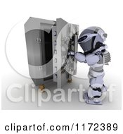Clipart of a 3d Robot Opening a Vault - Royalty Free CGI Illustration by KJ Pargeter