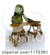 Clipart Of A 3d Carpenter Tortoise Worker Cutting Wood With A Saw 2 Royalty Free CGI Illustration