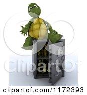 Poster, Art Print Of 3d Tortoise Sitting On An Open Safe Vault
