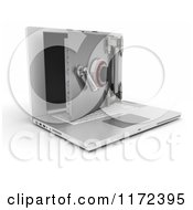 Clipart Of A 3d Secure Laptop Computer With An Open Vault Safe Royalty Free CGI Illustration