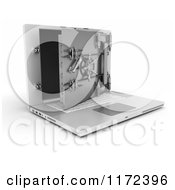 Clipart Of A 3d Secure Laptop Computer With An Open Vault Safe 2 Royalty Free CGI Illustration
