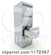 Clipart Of A 3d Filing Cabinet With An Empty Open Drawer Royalty Free CGI Illustration