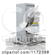 Clipart Of Files Flying Out Of A 3d Cabinet Royalty Free CGI Illustration