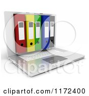 Clipart Of A 3d Laptop Computer With Office Binders In The Screen 2 Royalty Free CGI Illustration