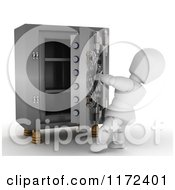 Poster, Art Print Of 3d Whte Character Opening A Vault