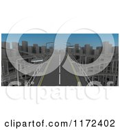 Clipart Of A 3d Aerial View Of A City Freeway Royalty Free CGI Illustration