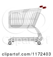 Clipart Of A Metal Shopping Cart With Red Handles Royalty Free Vector Illustration