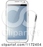 Clipart Of A White Samsung Galaxy Note With Stylus Pen Royalty Free Vector Illustration by vectorace
