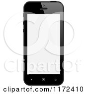 Clipart Of A Black Touch Screen Smart Cell Phone With A Blank Display Royalty Free Vector Illustration by vectorace