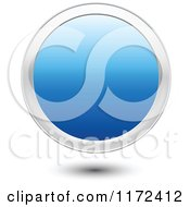 Clipart Of A 3d Floating Round Blue Icon Button With A Silver Ring Royalty Free Vector Illustration