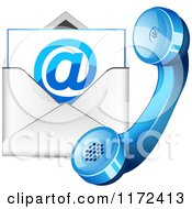 Clipart Of A Blue Contact Telphone And Email Icon Royalty Free Vector Illustration