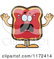 Cartoon Of A Screaming Toast And Jam Mascot Royalty Free Vector Clipart by Cory Thoman