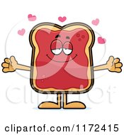 Cartoon Of A Loving Toast And Jam Mascot Royalty Free Vector Clipart by Cory Thoman