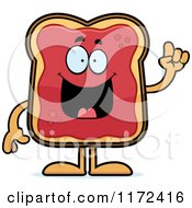 Cartoon Of A Smart Toast And Jam Mascot With An Idea Royalty Free Vector Clipart by Cory Thoman