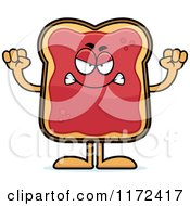 Cartoon Of A Mad Toast And Jam Mascot Royalty Free Vector Clipart by Cory Thoman