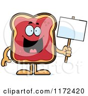 Cartoon Of A Happy Toast And Jam Mascot Holding A Sign Royalty Free Vector Clipart by Cory Thoman