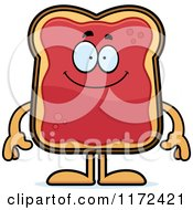 Cartoon Of A Happy Toast And Jam Mascot Royalty Free Vector Clipart by Cory Thoman
